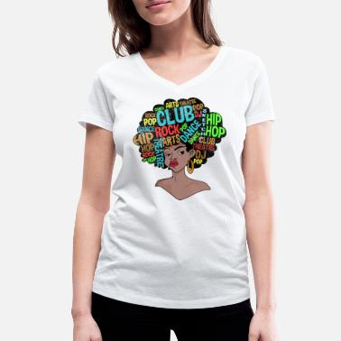 Old School Afro Retro Disco 70s Shirt - Women's Organic V-Neck T-Shirt