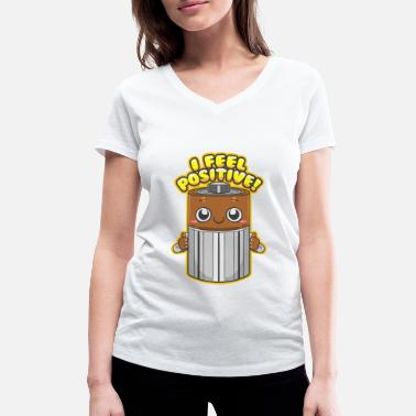 Puns Battery with funny pun - Women's Organic V-Neck T-Shirt