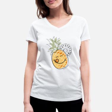 Pineapple SmileyWorld 'Juicy Pineapple' teenager t-shirt - Women's Organic V-Neck T-Shirt