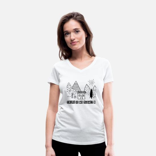 Planet T-Shirts - THERE IS NO PLANET B - Women's Organic V-Neck T-Shirt white