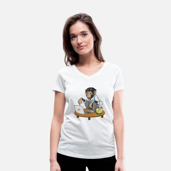 Gift Idea T-Shirts - Monkey in front of laptop - Women's Organic V-Neck T-Shirt white