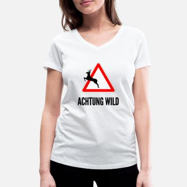 Cerf Attention cerf sauvage - T-shirt bio col V Femme