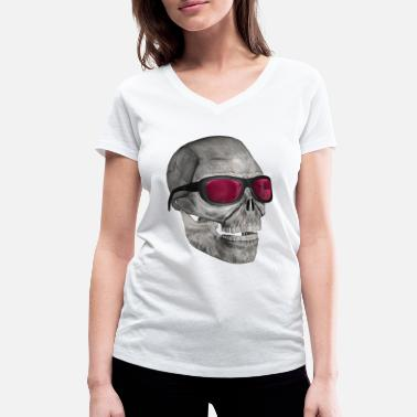 Casual skull with sunglasses 3000 - Women's Organic V-Neck T-Shirt