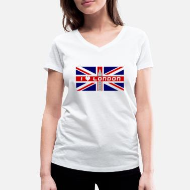 London Union Jack Flagge Love London Union Jack - Frauen Bio T-Shirt mit V-Ausschnitt