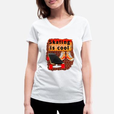 Skaterboarder Skaterboard Shoes Background Skating is cool - Women's Organic V-Neck T-Shirt
