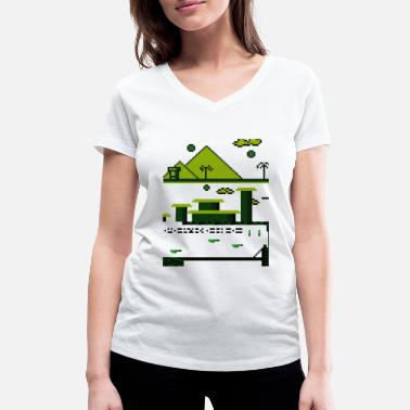 Retrogaming Pixelspel - Vrouwen V-hals bio T-shirt