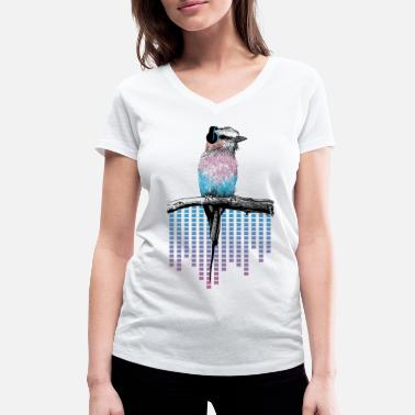 Birds Animal Planet Colourful Bird With Headphones - Women's Organic V-Neck T-Shirt