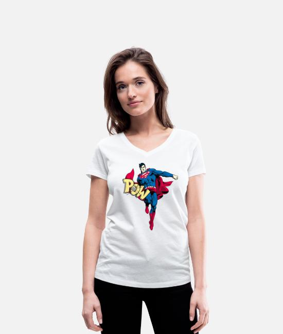 Superhero T-shirts - Sweat-shirt pour femmes Superman Comic-Style - T-shirt bio col V Femme blanc