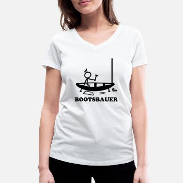 Stick Figure Boatbuilder - stick figure - Women's Organic V-Neck T-Shirt
