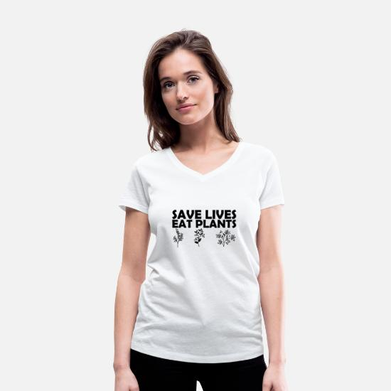 Vegetal Camisetas - Save Lives Eat Plants Vegan Gift - Camiseta con cuello de pico mujer blanco