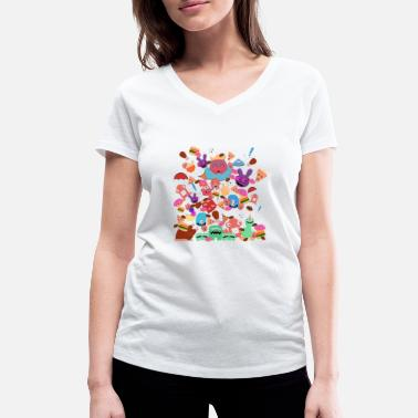 Cookie Little Monsters - Vrouwen V-hals bio T-shirt