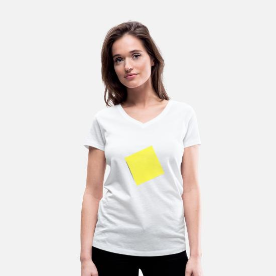 Piece Of Paper T-Shirts - yellow sticky note, sticky note, sticky note - Women's Organic V-Neck T-Shirt white