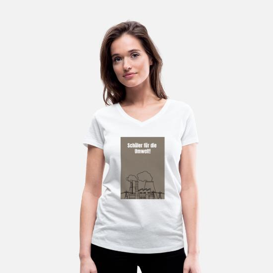 Environment T-Shirts - Pupil for the environment coal power - Women's Organic V-Neck T-Shirt white