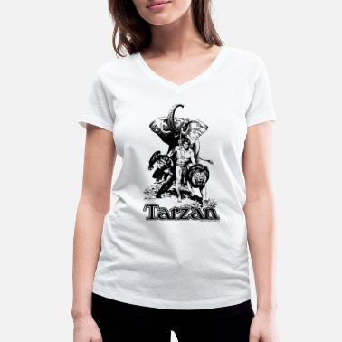Tarzan with elephant, lion and apes - Ekologisk T-shirt med V-ringning dam