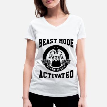 Beast Beast Mode Activated 3- Bodybuilder Fitness Gym - Frauen Bio T-Shirt mit V-Ausschnitt