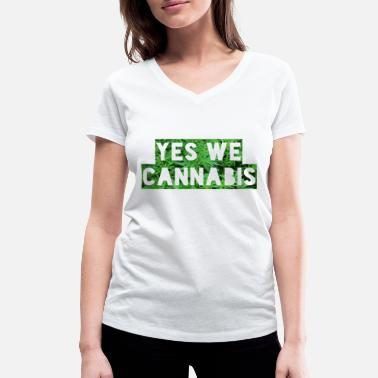Yes We Cannabis Yes We Cannabis - Frauen Bio T-Shirt mit V-Ausschnitt