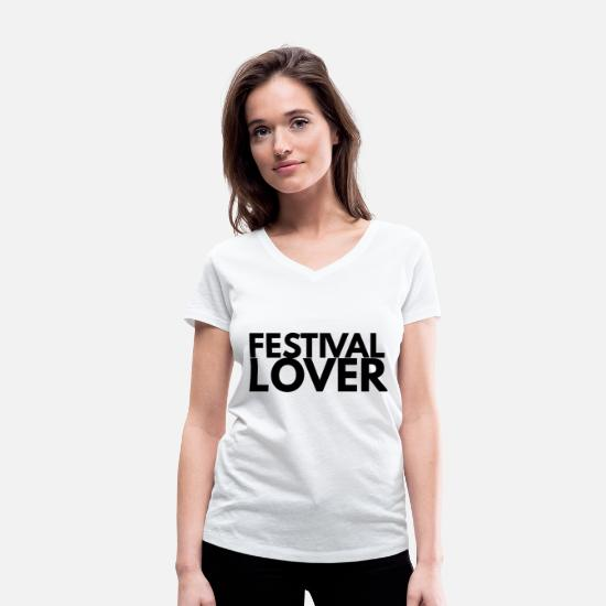 Festival T-Shirts - festival lover - Women's Organic V-Neck T-Shirt white