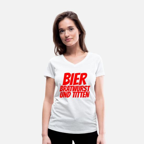 Beer Griller T-Shirts - BEER BRATWURST AND TITS - Women's Organic V-Neck T-Shirt white