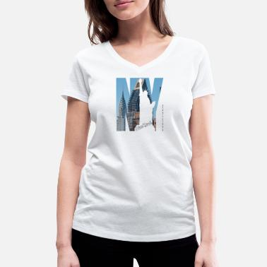 Ny Chrysler Building consulat allemand Lady Liberty - T-shirt bio col V Femme