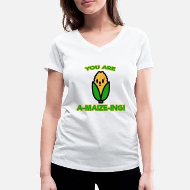 Maize A MAIZE ING ~ Corn, Labyrinth, Word Game - Women's Organic V-Neck T-Shirt