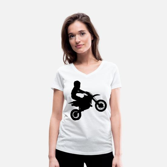 Gift Idea T-Shirts - Kids motocross - KIDS MX - Women's Organic V-Neck T-Shirt white