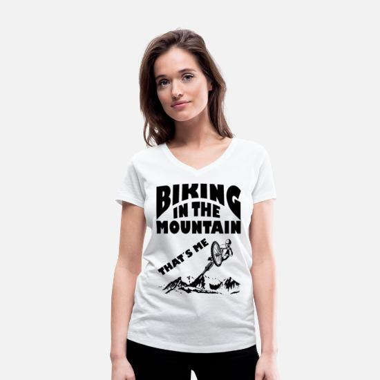 Bike Messenger T-Shirts - Riding in the mountains bike - Women's Organic V-Neck T-Shirt white