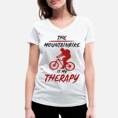 Mountain Sports My therapy? The Mountainbike - Women's Organic V-Neck T-Shirt
