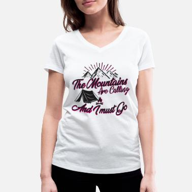The Mountains are Calling Black and Pink - Frauen Bio T-Shirt mit V-Ausschnitt