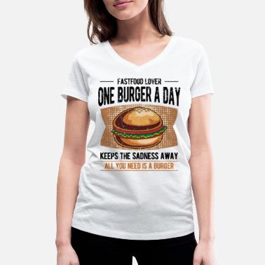 Food Burger fast food food Funny gift - Women's Organic V-Neck T-Shirt