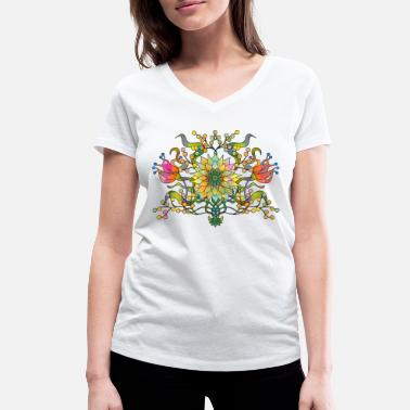 Flora Flowers - Women's Organic V-Neck T-Shirt