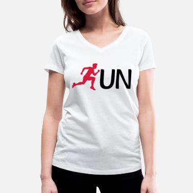 Man run text logo sport race sprinting fast endurance - Women's Organic V-Neck T-Shirt