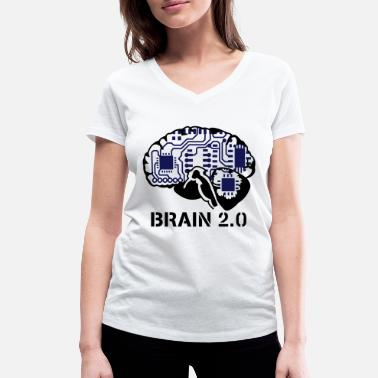 Brain brain 2.0 - Women's Organic V-Neck T-Shirt