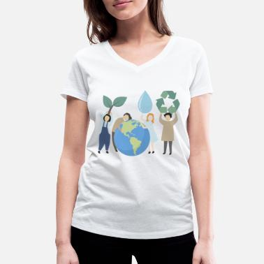 Future Green planet - Women's Organic V-Neck T-Shirt