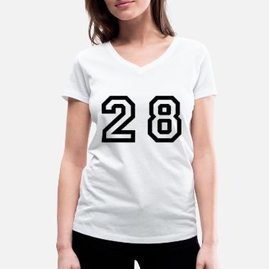 Twenty Number - 28 - Twenty Eight - Ekologisk T-shirt med V-ringning dam