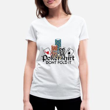 Carreaux Poker Lucky Shirt - Dont Fold Word Game - T-shirt bio col V Femme