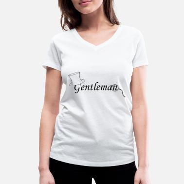 Monocle Gentleman with monocle - Women's Organic V-Neck T-Shirt