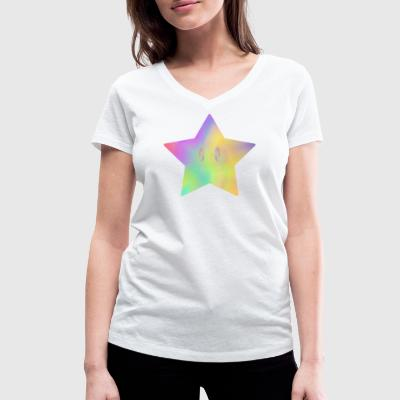 Color the World - Colorful Star - Women's Organic V-Neck T-Shirt by Stanley & Stella