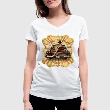 Classic car and sexy girl - Women's Organic V-Neck T-Shirt by Stanley & Stella
