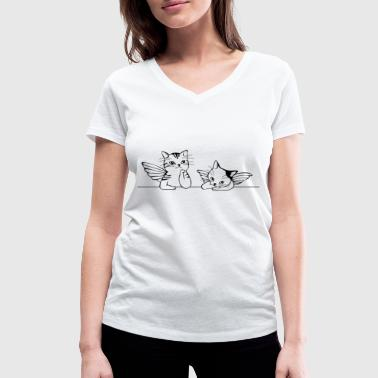 angel cats - Women's Organic V-Neck T-Shirt by Stanley & Stella