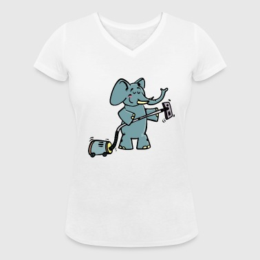 Funny elephant vacuum cleaner - Women's Organic V-Neck T-Shirt by Stanley & Stella