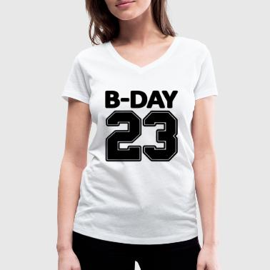 23rd birthday bday 23 number numbers jersey number - Women's Organic V-Neck T-Shirt by Stanley & Stella