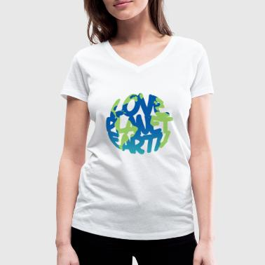 LOVE Planet Earth (Vivid) - Women's Organic V-Neck T-Shirt by Stanley & Stella