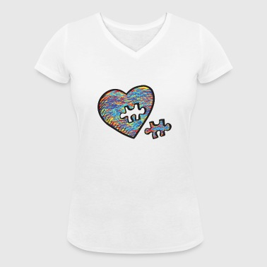 Autism Acceptance Heart Puzzle Birthday Shirt - Women's Organic V-Neck T-Shirt by Stanley & Stella