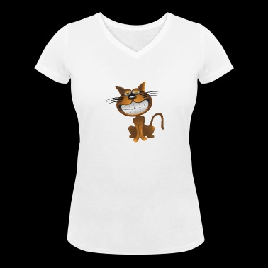 Grinning cat - Women's Organic V-Neck T-Shirt by Stanley & Stella