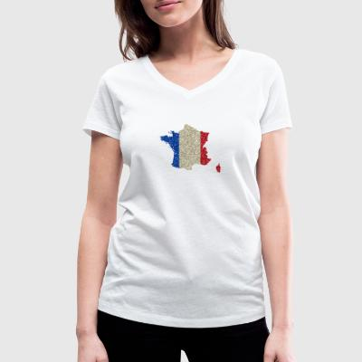 France map flag Glitz homeland pride - Women's Organic V-Neck T-Shirt by Stanley & Stella