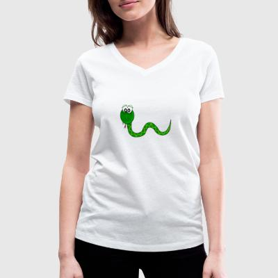 Sweet snake green in comic style - Women's Organic V-Neck T-Shirt by Stanley & Stella