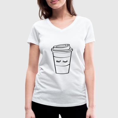 Coffee Cup - Women's Organic V-Neck T-Shirt by Stanley & Stella