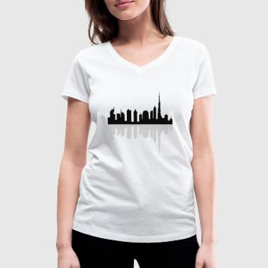 dubai skyline - Women's Organic V-Neck T-Shirt by Stanley & Stella