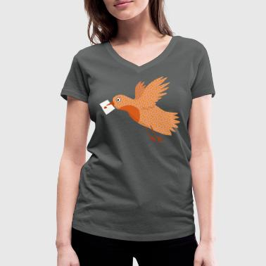 Bird with letter in beak. - Vrouwen bio T-shirt met V-hals van Stanley & Stella