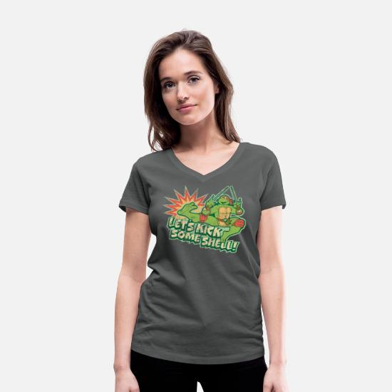 Turtle T-Shirts - TMNT Turtles Raphael Let's Kick Some Shell - Women's Organic V-Neck T-Shirt charcoal